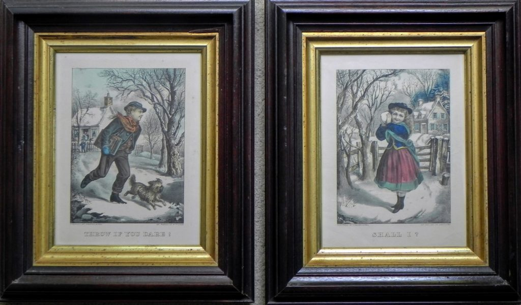 Throw if you Dare! Shall I? Currier & Ives prints