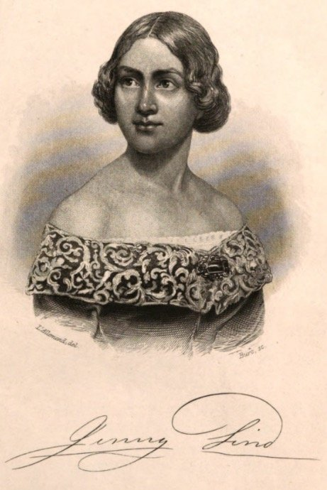 Burt (engraver) after painting by L'Allemand, Jenny Lind [Engraved frontispiece to Jenny Lind: Her Life, Her Struggles, and Her Triumphs by C. G. Rosenberg, 1850].