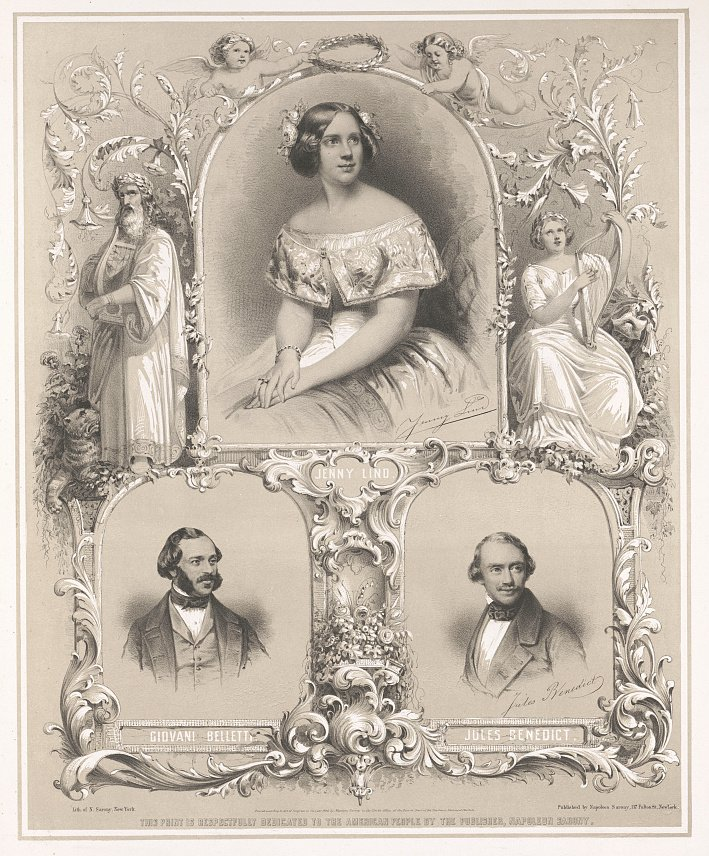 Napoleon Sarony (lithographer and publisher), Jenny Lind, Giovani Belletti, Jules Benedict [Lithograph, 1850].