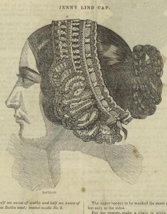 "T. I. Keily (engraver), Jenny Lind Cap [Page with instructions for making the ""Jenny Lind Cap"" from Godey's Lady Book, May 1849]"