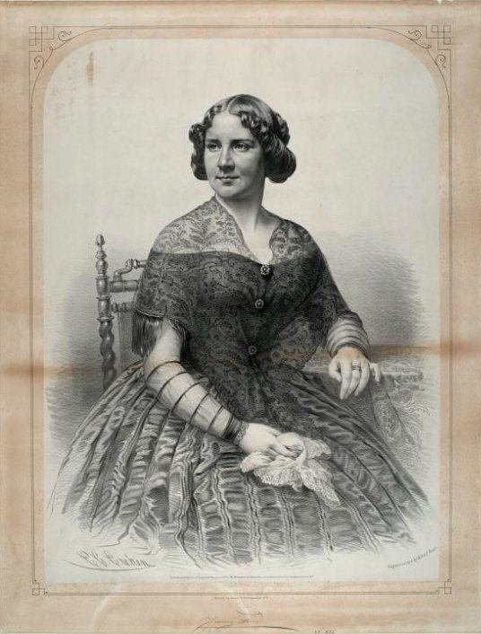C. G. Crehen (artist), Nagel & Weingartner (printer) after a daguerreotype by M.A. & S. Root, Jenny Lind [Lithograph, 1850].