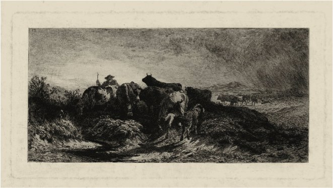 Return of the Herd, replica etching by Peter Moran, 1875