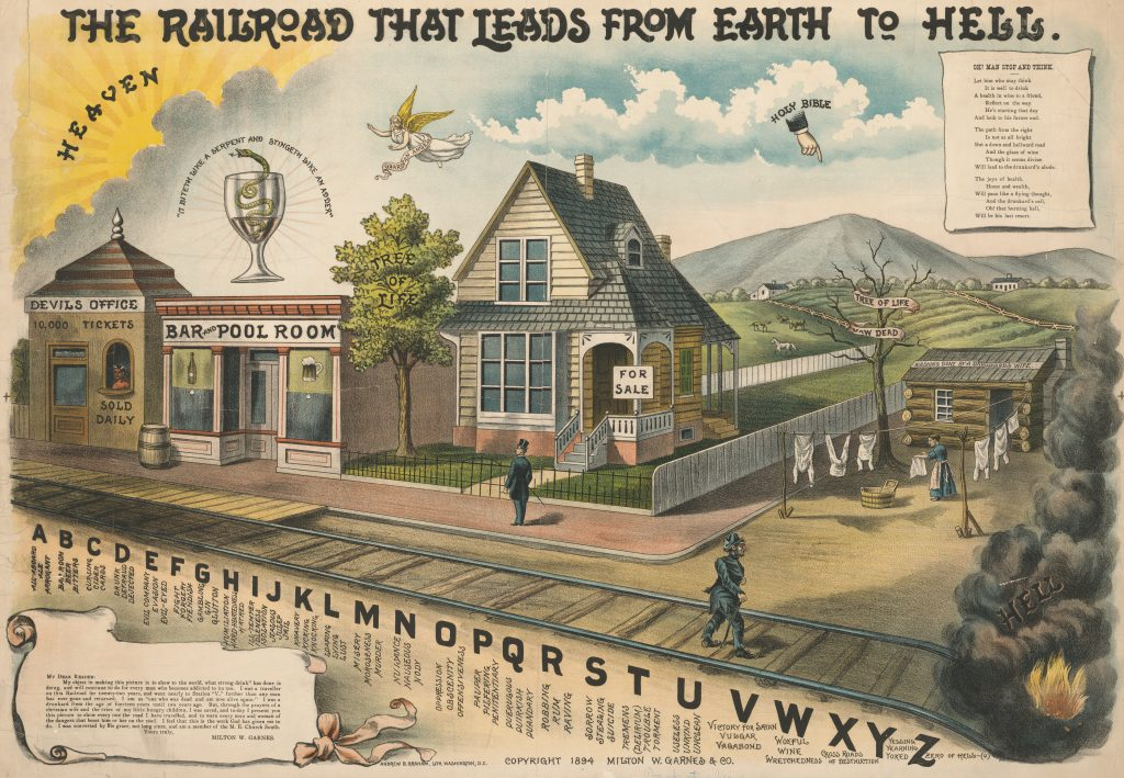 A.B. Graham Co. (lithographer), Milton W. Garnes & Co. (publisher), The Railroad that Leads From Heaven to Hell [Lithograph, 1894 or 1895].