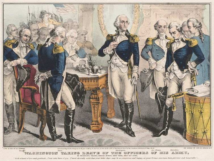 N. Currier, Washington Taking Leave of the Officers of his Army, at Francis's Tavern, Broad Street, New York, Decr. 4th. 1783 [Lithograph, 1848]