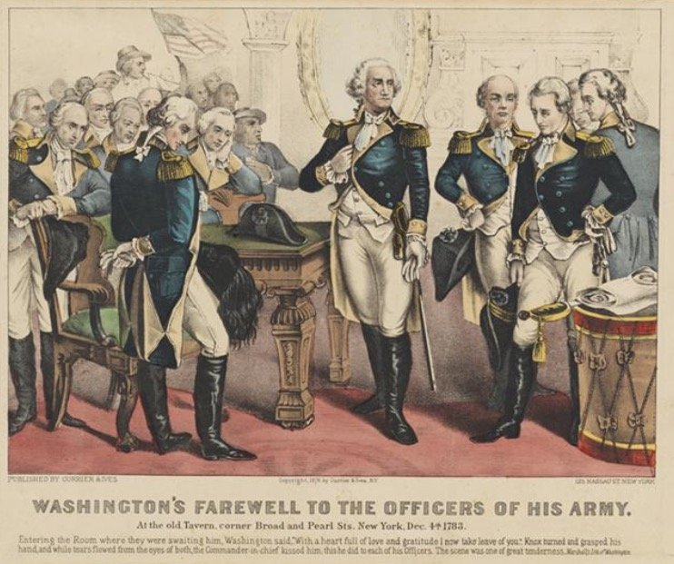 Currier & Ives, Washington's Farwell to the Officers of his Army. At the old Tavern, corner Broad and Pearl Sts. New York, Dec. 4th 1783 [Lithograph, 1876]