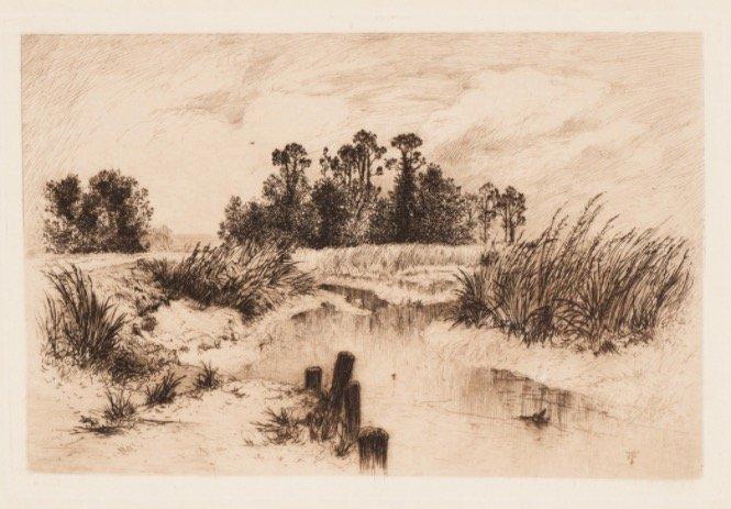 Thomas Moran,The Passaic Meadows[Etching, 1879]