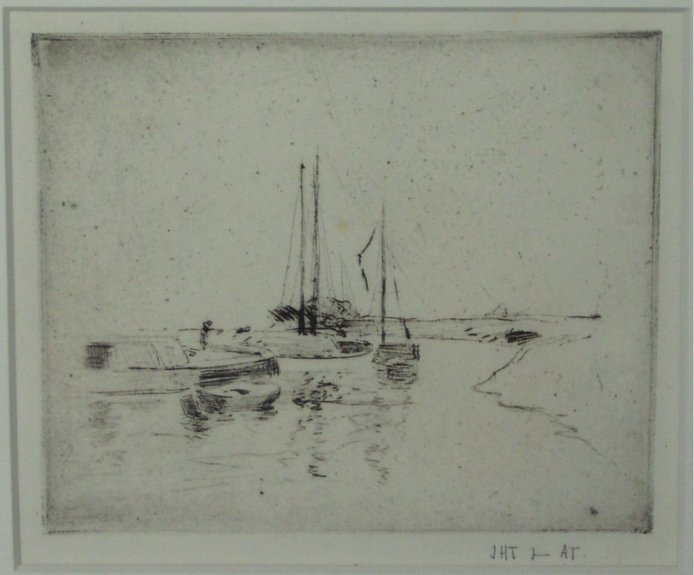 John Henry Twachtman,Four Boats[Drypoint etching, 1880s]